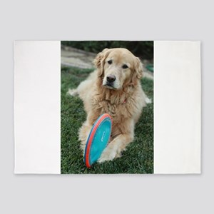 Nala golden retriever with blue and 5'x7'Area Rug